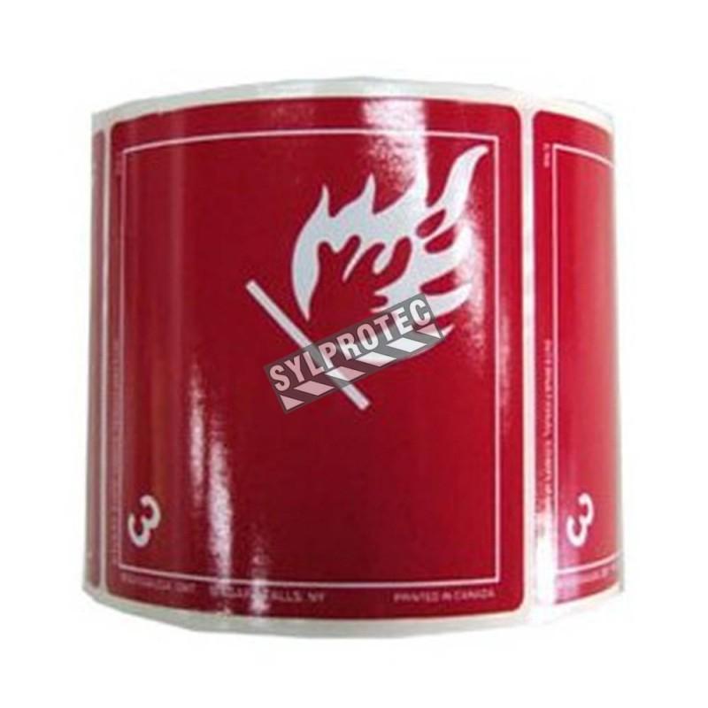 Flammable liquid label, class 3, 4 in X 4 in, rolls of 500. Use under WHMIS procedures.