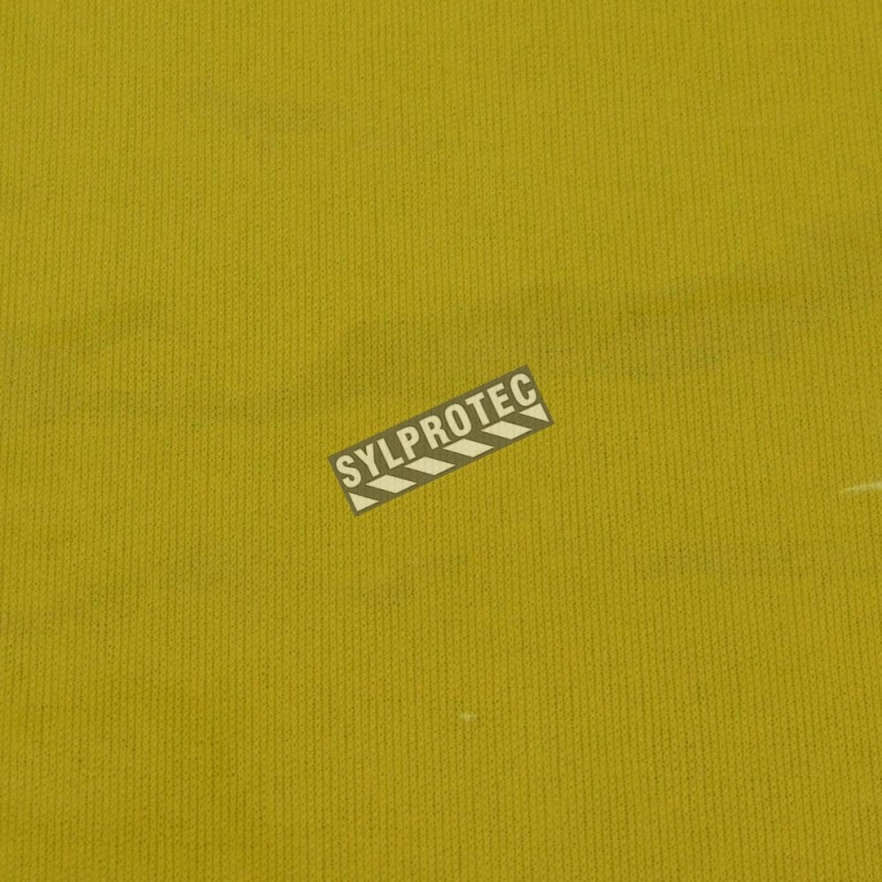 Translucent yellow flame-resistant PVC, 14 mils thick, for welding area. Sold by square foot.