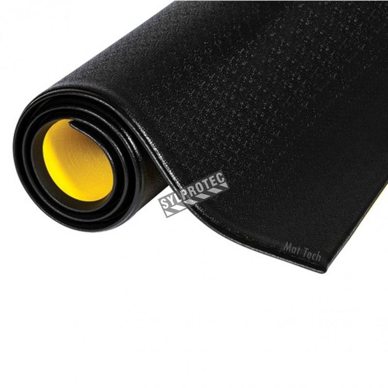 Tapis ergonomique noire de marque Wear-Bond Tuff-Spun, 3/8 po en mousse de PVC.