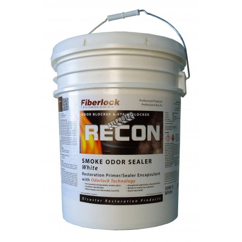Recon™ smoke odor sealer coating based on titanium dioxide & heavy-duty alcohol to remove smoke odours. 5 gal US containers.