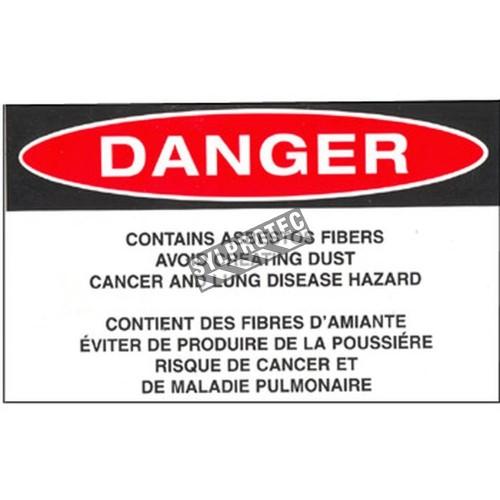 """Étiquette bilingue autocollante en vinyle pour identifier les déchets volumineux d'amiante emballés dans de la toile. 5""""x3"""""""