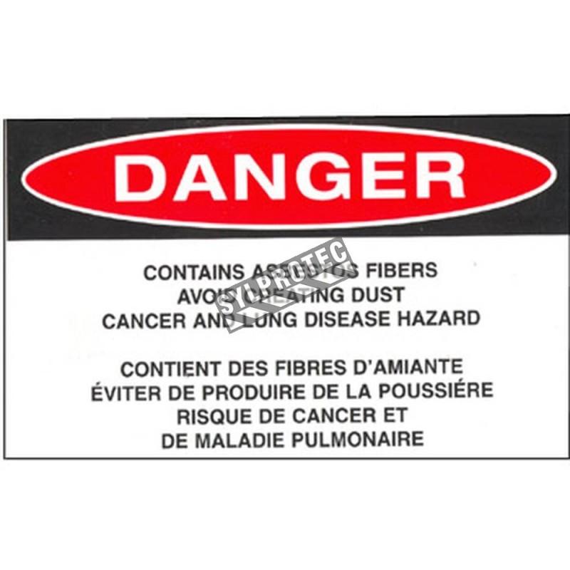 """Étiquette bilingue autocollante en vinyle pour identifier les déchets volumineux d'amiante , 5""""X 3"""", rouleau de 500."""