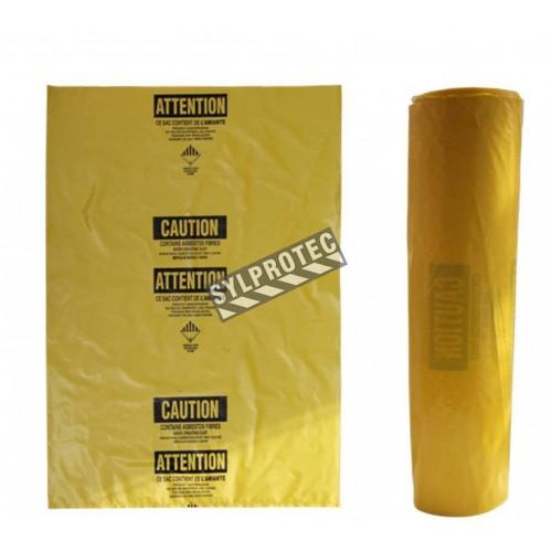 "Statutory bilingual yellow bag for asbestos waste. Allows safe transportation of hazardous waste to landfills. 3 mils, 26""x40"""
