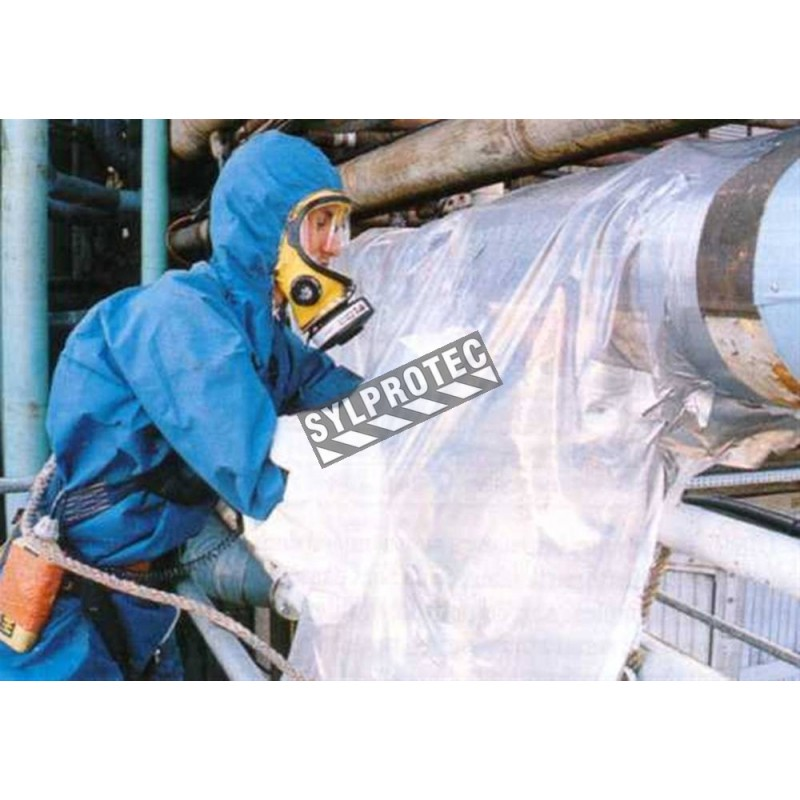 Glove bag for horizontal piping of a diameter of 14 in and less. Ideal for asbestos insulation removal on pipes. 20 units/roll