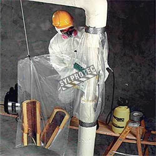 Disposable glove bags for vertical pipes, diam. 10 inches or less, 20 bags/roll.