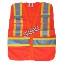 High visibility orange safety vest, adjustable M-XL, class 2, 100% polyester, 4 pockets.