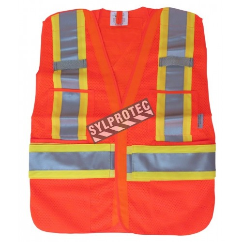 Fluorescent orange safety vest, adjustable M-XXL, CSA Z96 class 2, 100% polyester, 4 pockets.