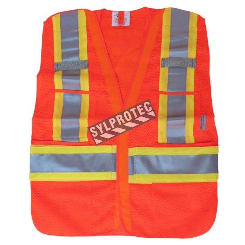 Veste de circulation orange fluo, ajustable M-XXL, CSA Z96 classe 2, 100% polyester, 4 poches.