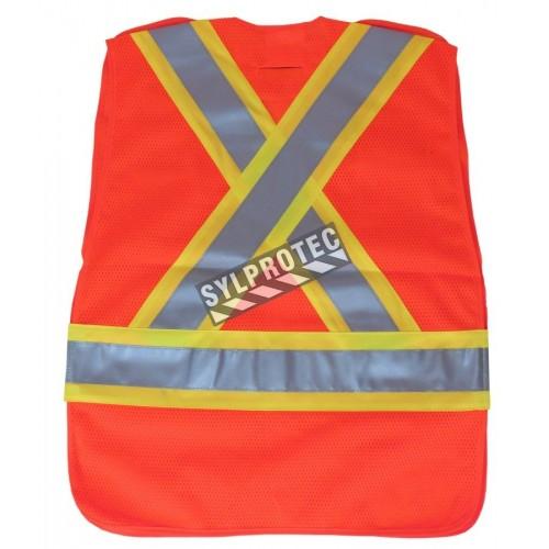 Fluorescent orange safety vest, adjustable M-XXL, CSA Z96 class 2, 100% polyester, 4 pockets.
