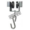 Roulettes rivetées en nylon avec un cadre en acier muni d'un crochet en S.