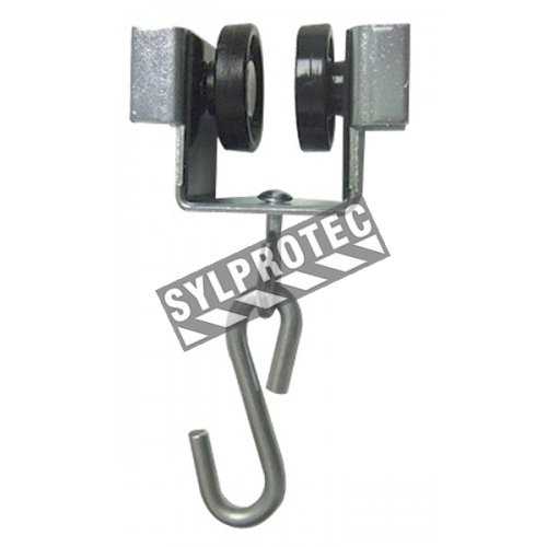 Roller for track of curtain, nylon castors with S hook, riveted castor to steel frame.
