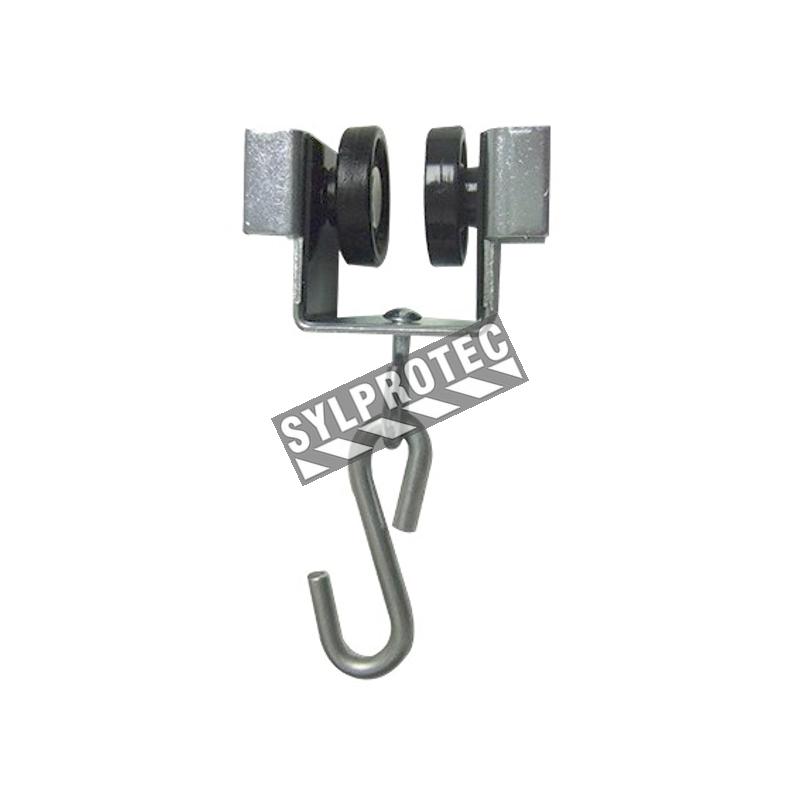 Roulettes rivetés en nylon avec un cadre en acier muni d'un crochet en S.