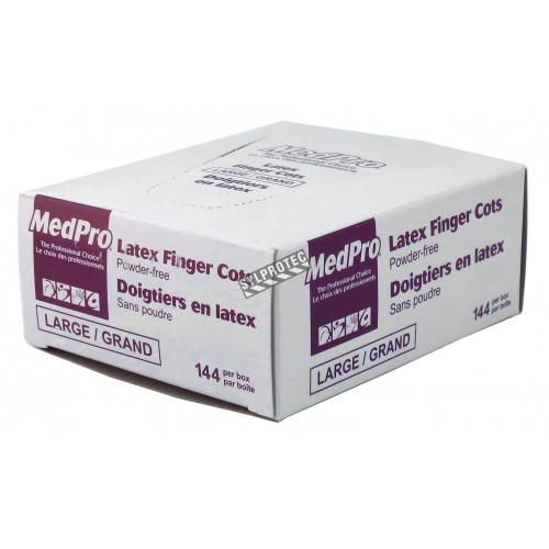 Latex finger cots, large, 144/box.