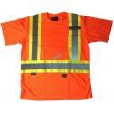 Orange traffic polyester t-shirt, CSA Z96-09, class 2 level 2