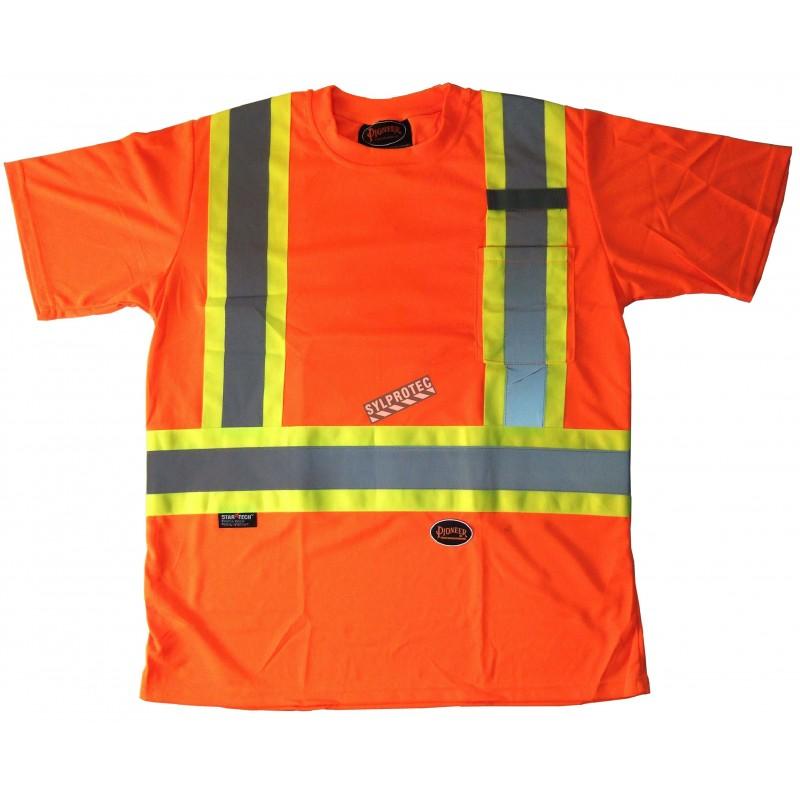 Chandail de signalisation en polyester orange CSA Z96-09, classe 2 niveau 2