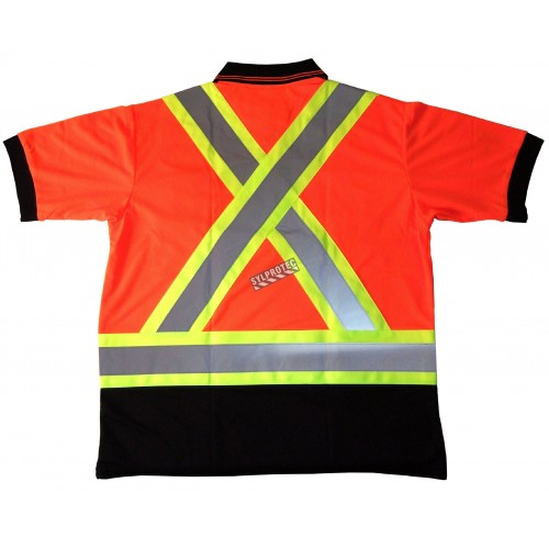 Polo  made of orange polyester, approved CSA Z96-09