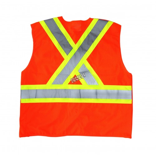 Fluorescent orange safety vest, CSA Z96 class 2, 100% polyester