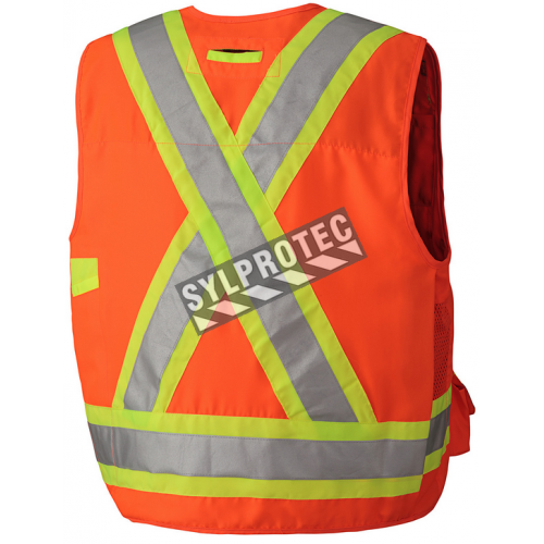 Veste d'arpenteur en polyester orange fluo avec 17 poches, CSA Z96-15 classe 2 niveau 2.