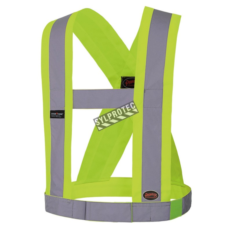 Hi-viz traffic sash, fluorescent yellow with retroreflective stripes, CSA Z96-15 class 1 level 2.