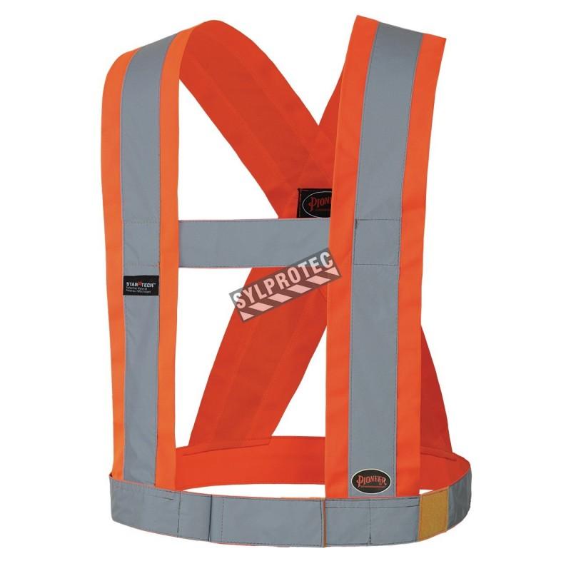 Bretelles haute visibilité orange fluorescent avec bandes rétroréfléchissantes, CSA Z96-15 classe 1 niveau 2.