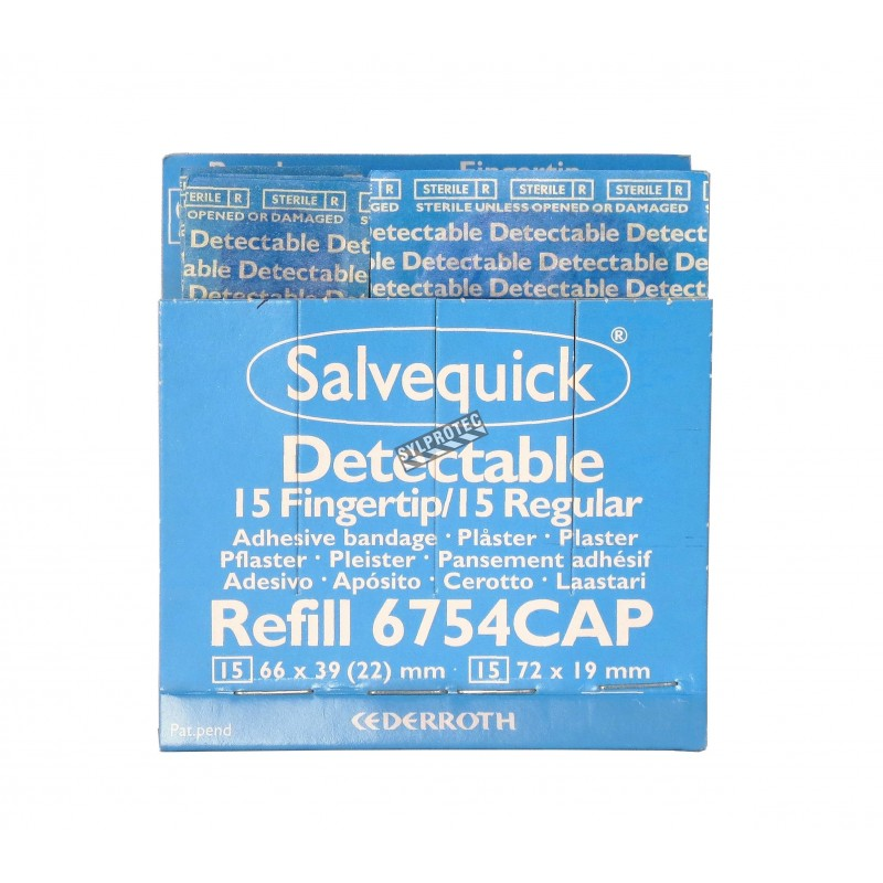 """Refill 30 mixed detectable blue adhesive bandages for """"Salvequick"""" bandage distributor (PS120)."""