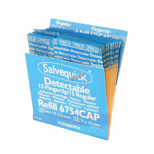"Refill 30 mixed detectable blue adhesive bandages for ""Salvequick"" bandage distributor (PS120)."