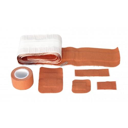 Elastic fabric bandages, assorted sizes, 101/box, with storage box.