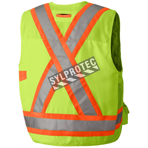 High-visibility yellow surveyor vest with 14 pockets, CSA Z96-15 class 2 level 2.