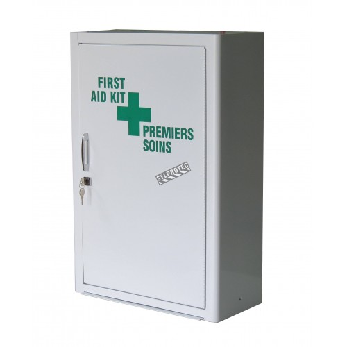 Wall-mounted metal first aid cabinet with solid door panel and lock with 2 keys.