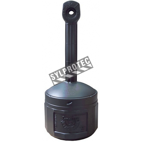 Smoker's Cease-Fire cigarette receptacle, black polyethylene with galvanized steel pail, capacity 4 US gal (15L). FM approved.