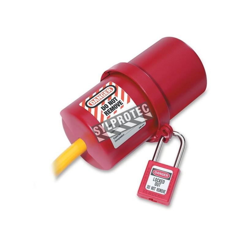 Lock for 220 and 550 Volt electric plug. Rotary lockout device for electrical plugs.