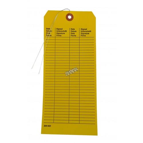Carte d'inspection pour douche d'urgence