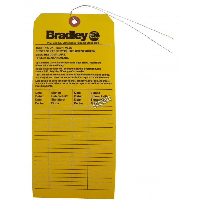 Bradley inspection tag for emergency showers and wash stations.
