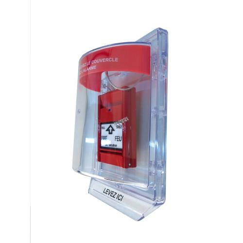 Couvert en polycarbonate transparent pour station d'alarme manuelle avec fils encastrés.