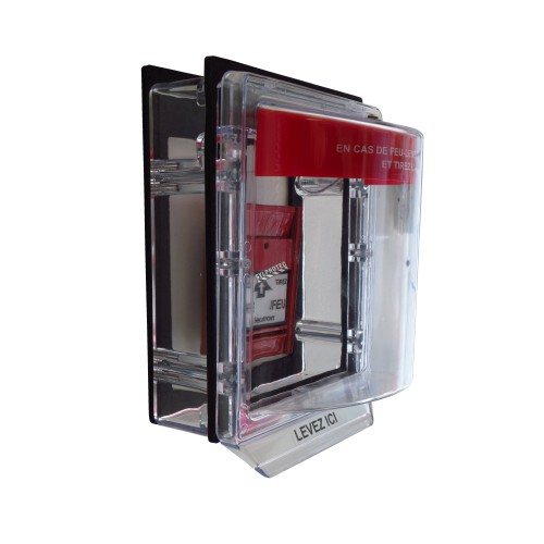 Clear water-resistant polycarbonate cover for surface-mount manual fire alarm pull station.