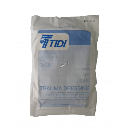 Sterile trauma dressing pad, 10 x 30 in, sold individually.