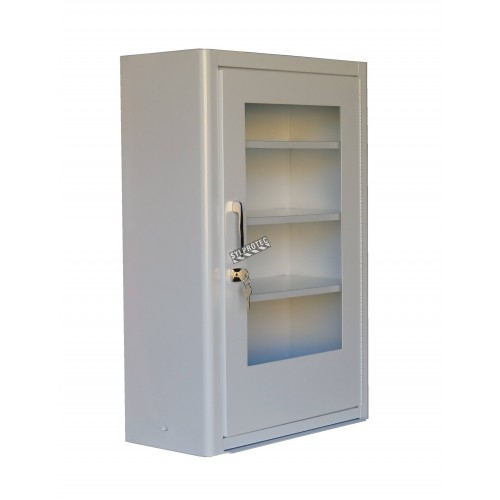 Wall-mounted metal first aid cabinet with acrylic door panel and lock with 2 keys.