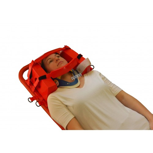 Head immobilizer with straps and foam blocks.