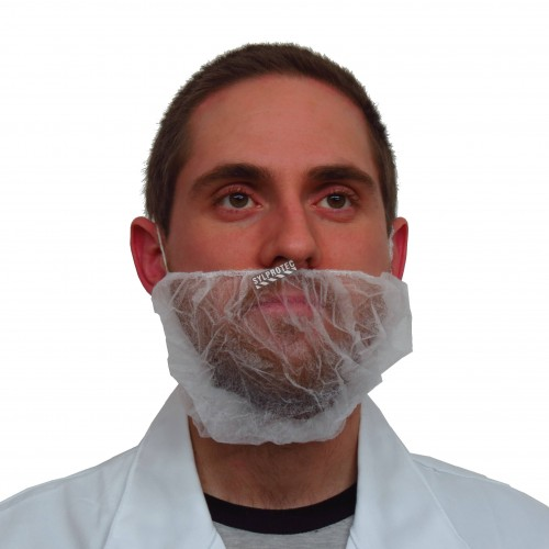 Beard net, white mesh (100/pkg).