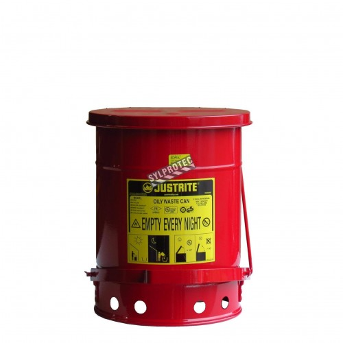 Container for oily or solvent-soaked rags, 6 gallons, with pedal, FM, UL, OSHA approuved.