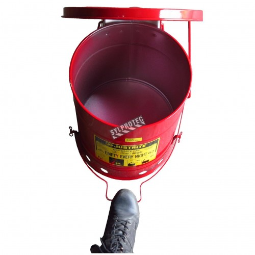 Bidon pour chiffons imbibés d'huiles ou solvants, 6 gallons, avec pédale, approuvé FM, UL, OSHA.