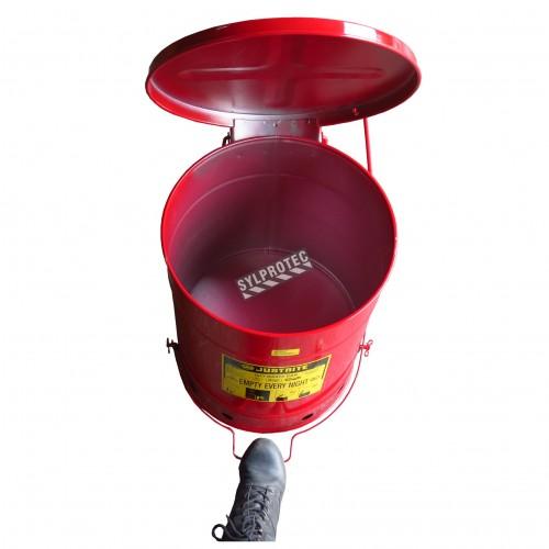 Bidon pour chiffons imbibés d'huiles ou solvants, 10 gallons, avec pédale, approuvé FM, UL, OSHA