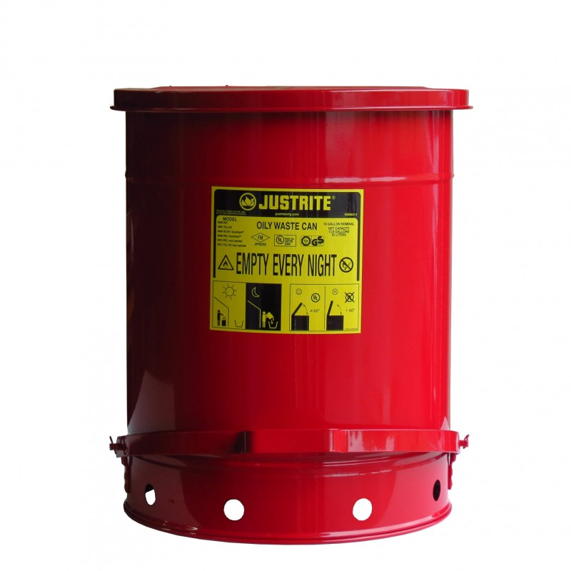 14 Gallon Container With Pedal For Oily Or Solvent Soaked