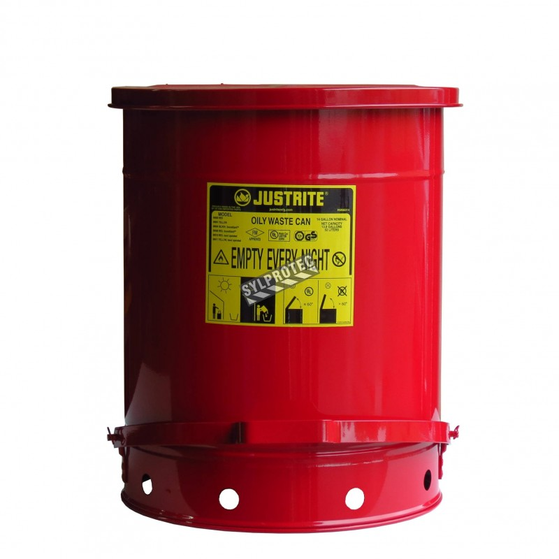 Container for oily or solvent-soaked rags, 14 gallons, with pedal, approved FM, UL, OSHA.