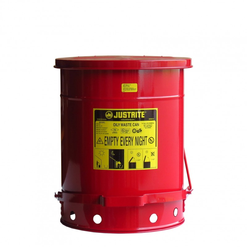 10 gallon container with pedal for oily or solvent soaked for Container en francais