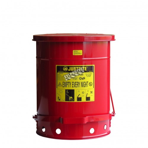 Container for oily or solvent-soaked rags, 10 gallons, with pedal, approved FM, UL, OSHA.
