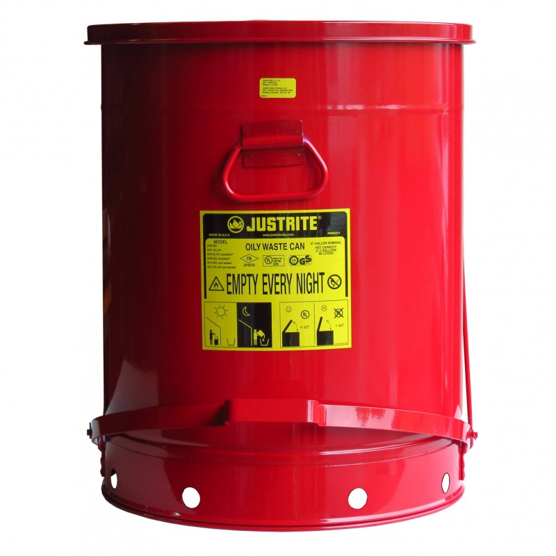 21 Gallon Container With Pedal For Oily Or Solvent Soaked