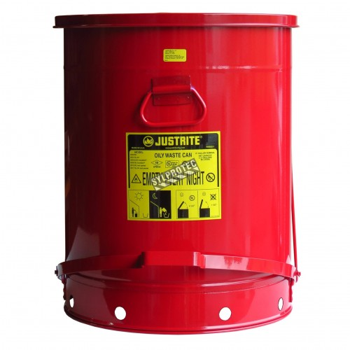 Container for oily or solvent-soaked rags, 21 gallons, with pedal, approved FM, UL, OSHA.