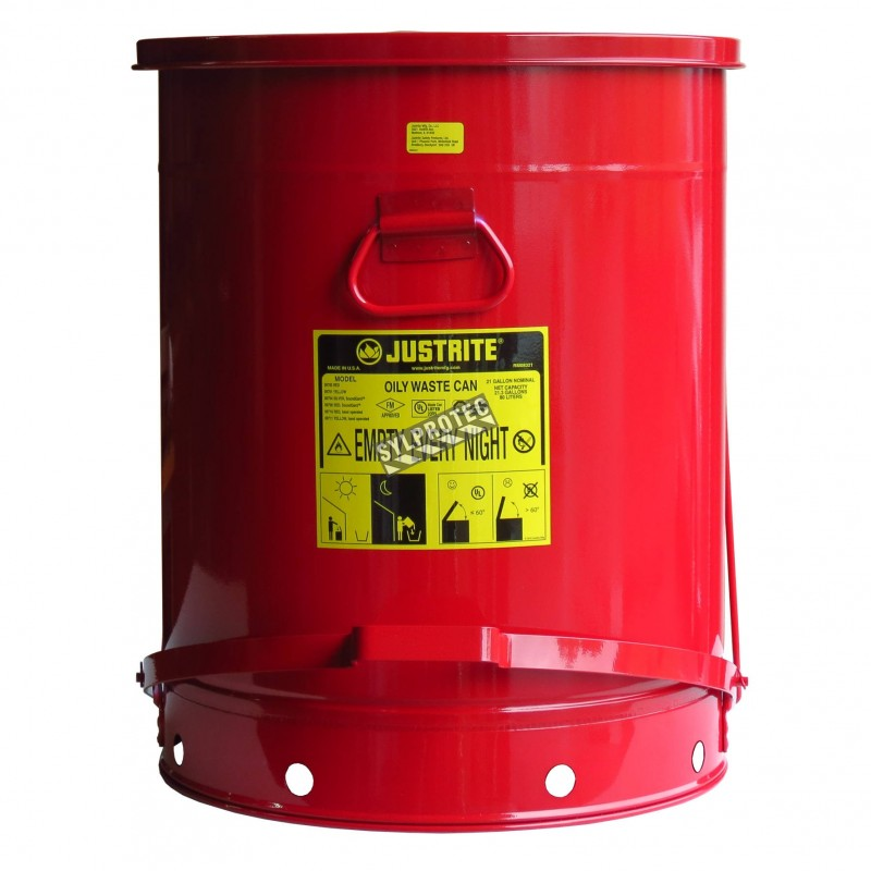 Bidon pour chiffons imbibés d'huiles ou solvants, 21 gallons, avec pédale, approuvé FM, UL, OSHA.