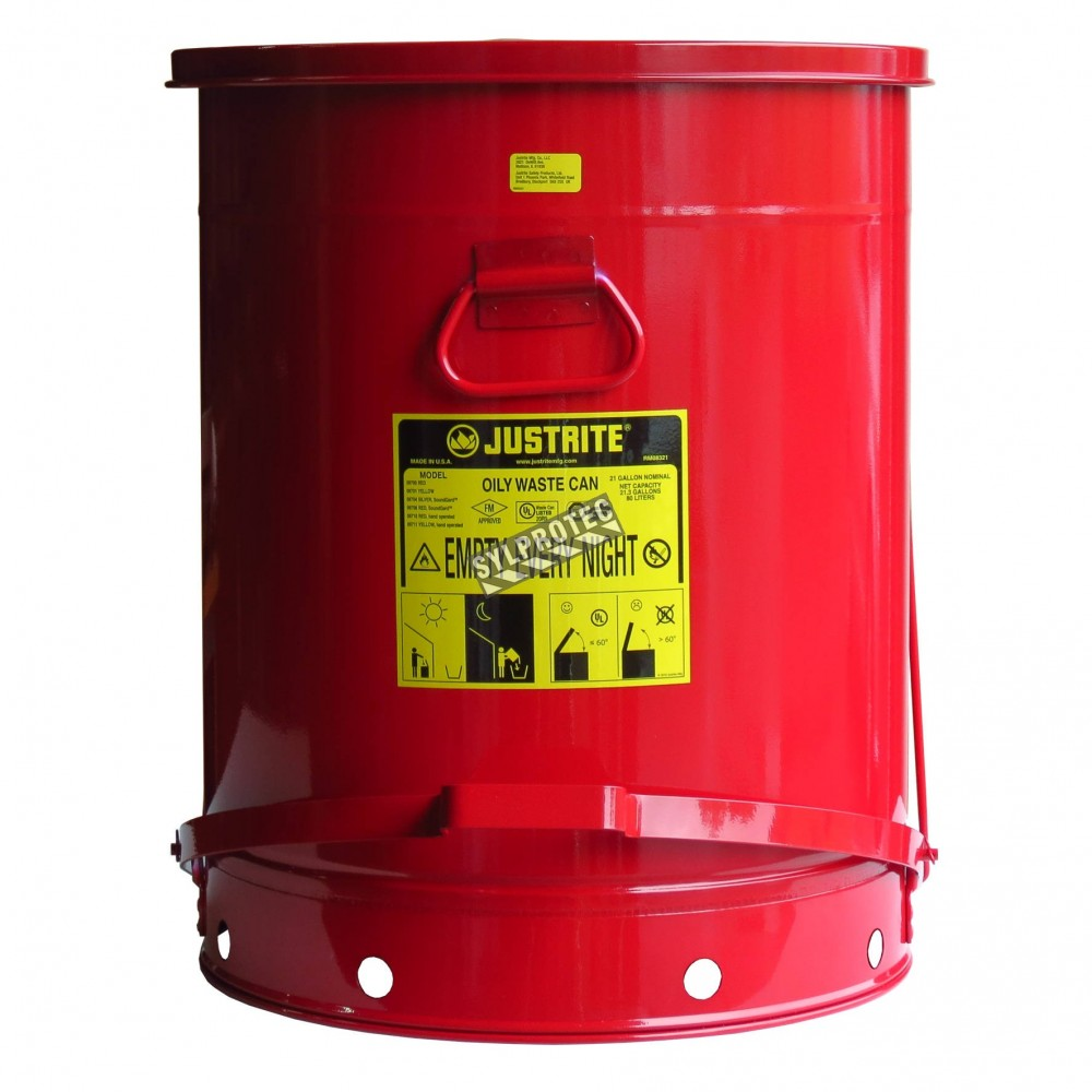 21 Gallon Container With Pedal For Oily Or Solvent-soaked